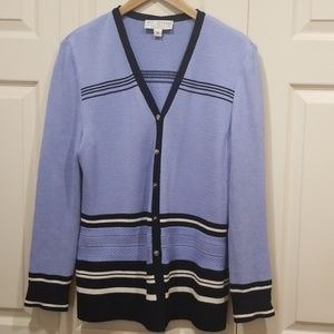 ST. JOHN Light Blue and Black Cardigan